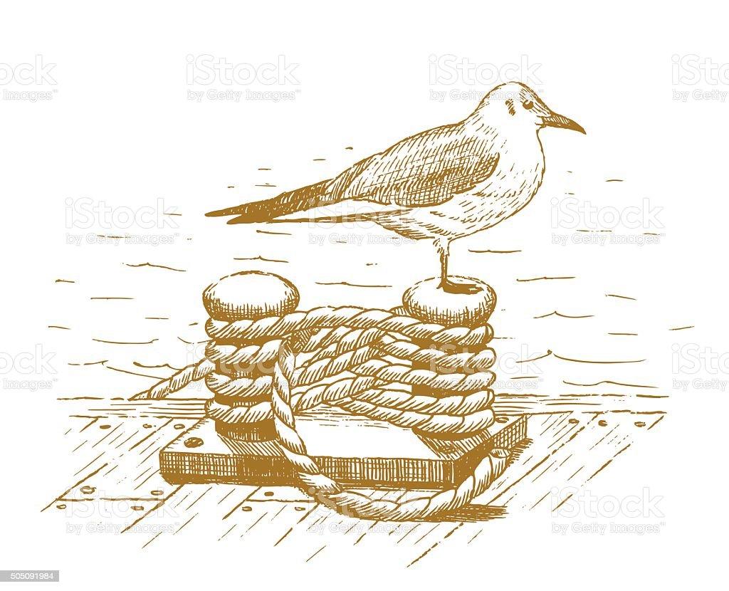 Seagull sitting on a bollard drawn by hand vector art illustration