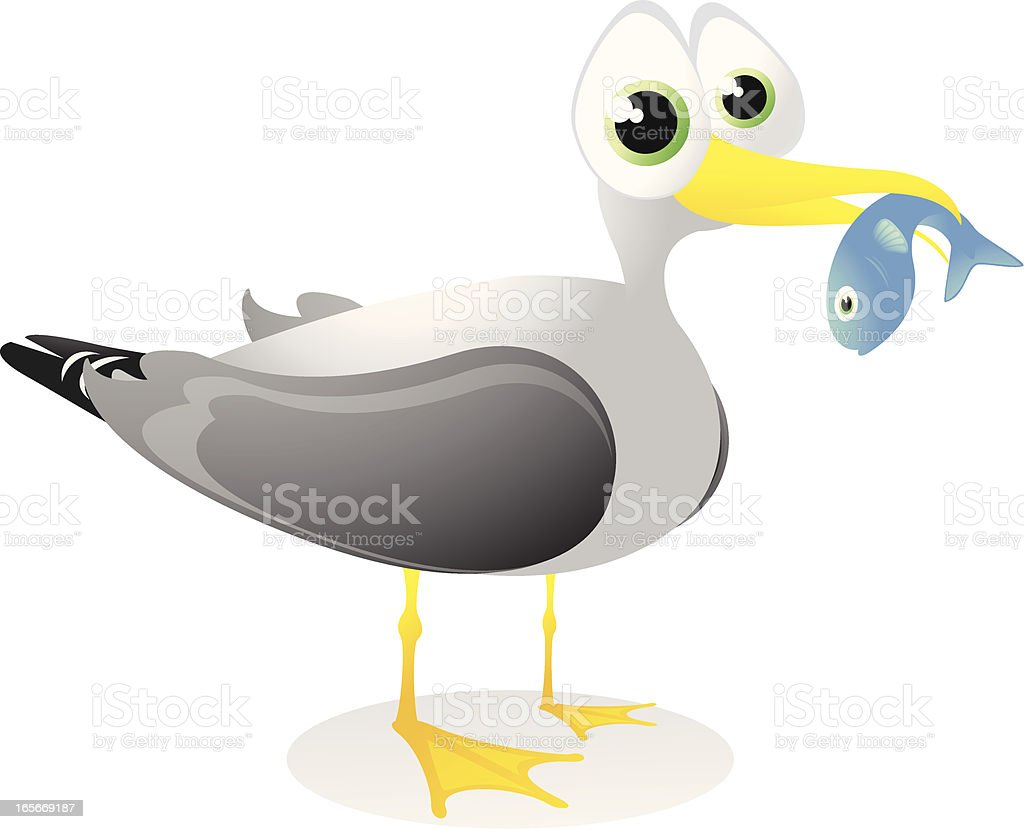Seagull with a fish cartoon royalty-free stock vector art