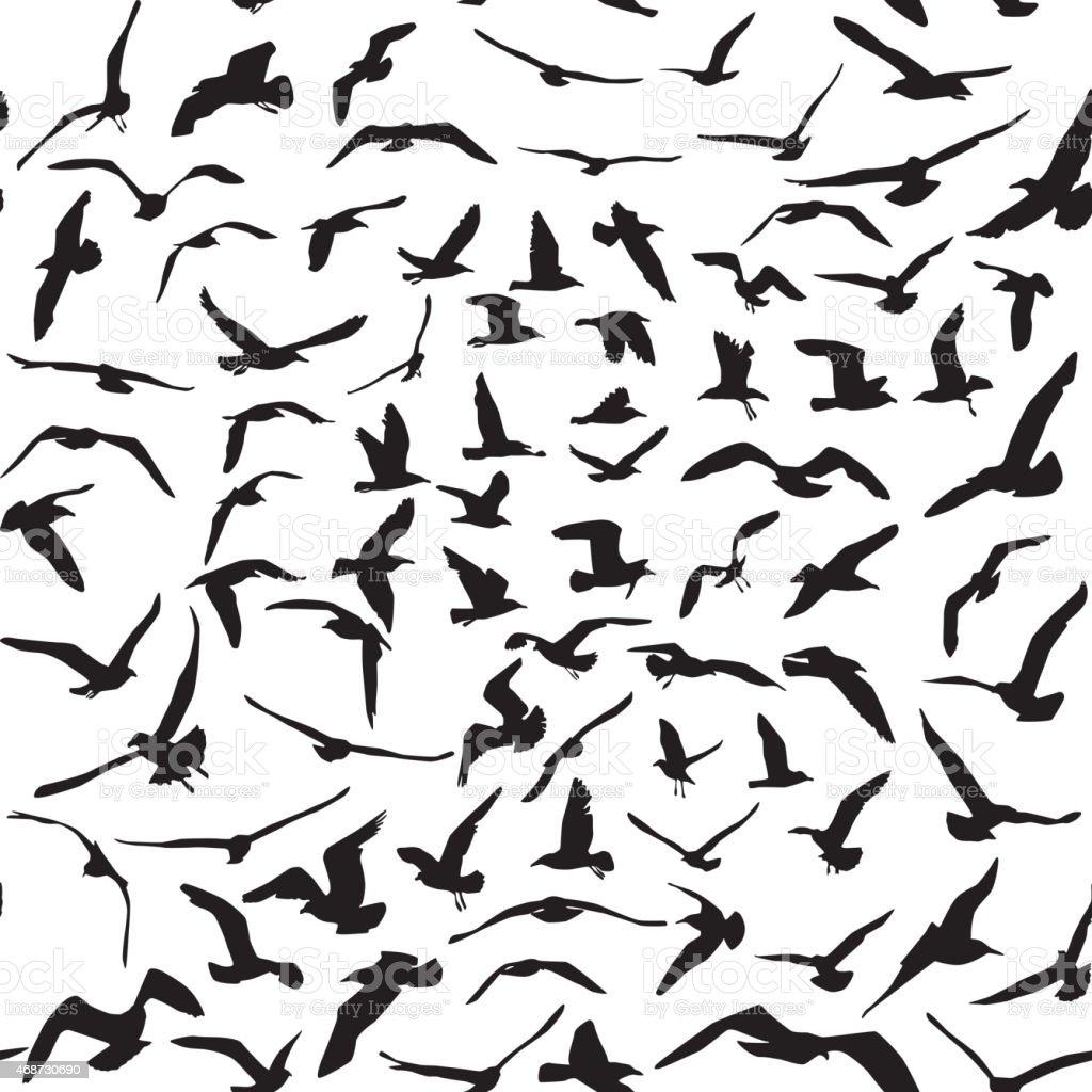 Seagulls black silhouette on white background. Seamless pattern. Vector vector art illustration