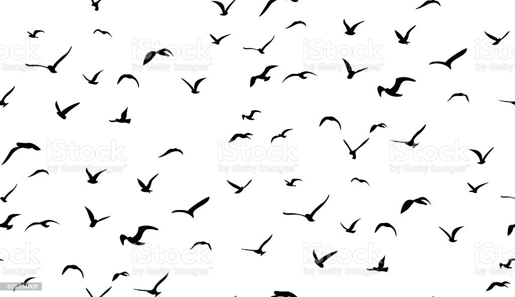 Seagulls flying in the sky, seamless vector pattern