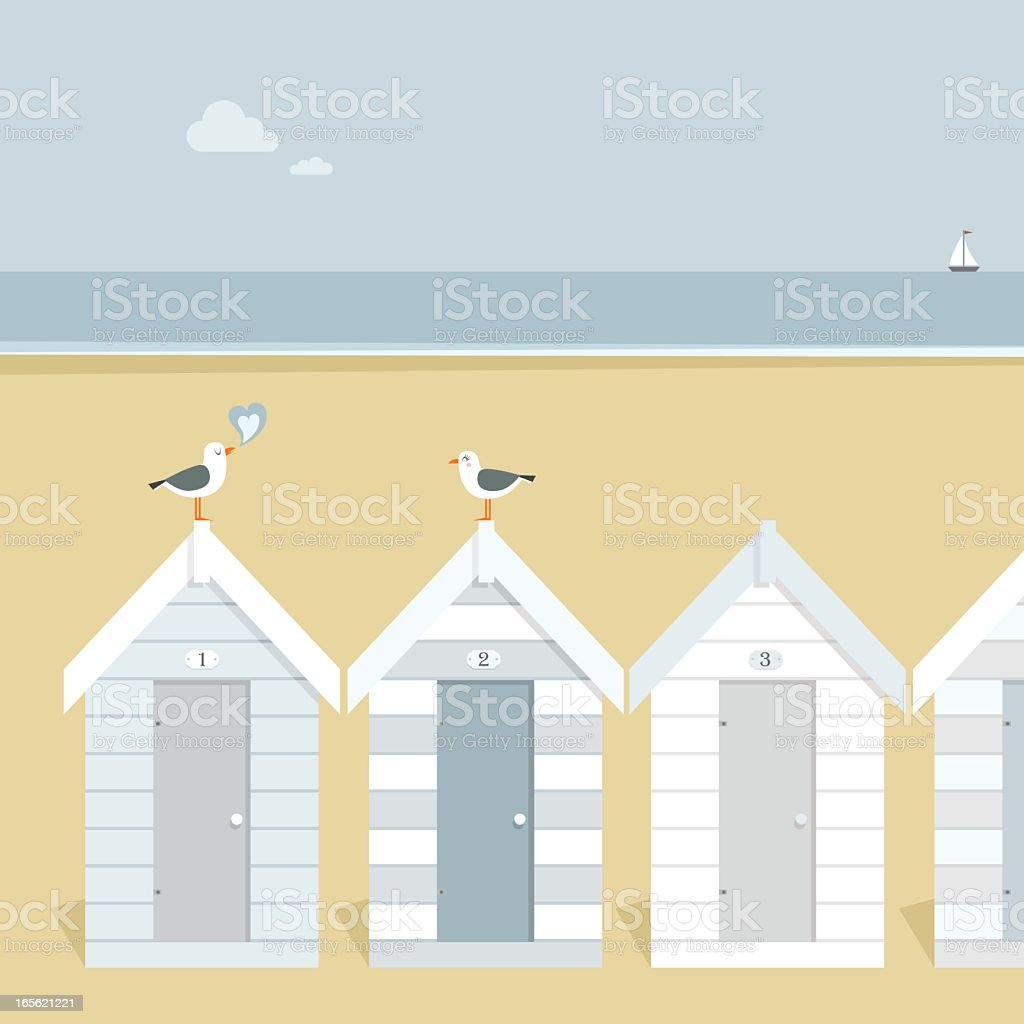 Seagulls in love vector art illustration