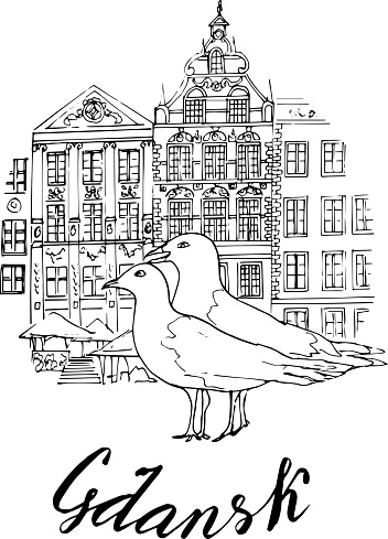"""Seagulls on the background of the old city of Gdansk. Vector illustration. Hand-drawn.Handwritten inscription """"Gdansk"""". for design or coloring for children and adults."""