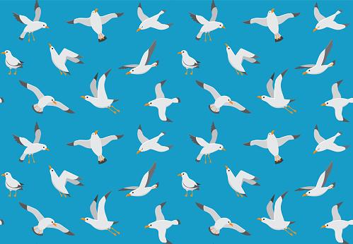 Seagulls seamless pattern. Cartoon gull flying over sea. Marine vector endless texture