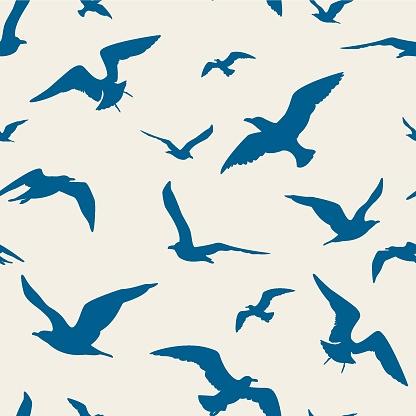 Seagulls seamless pattern - Illustration