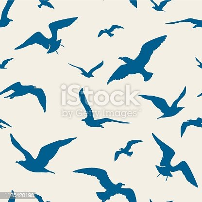 Seagulls seamless pattern - Illustration
