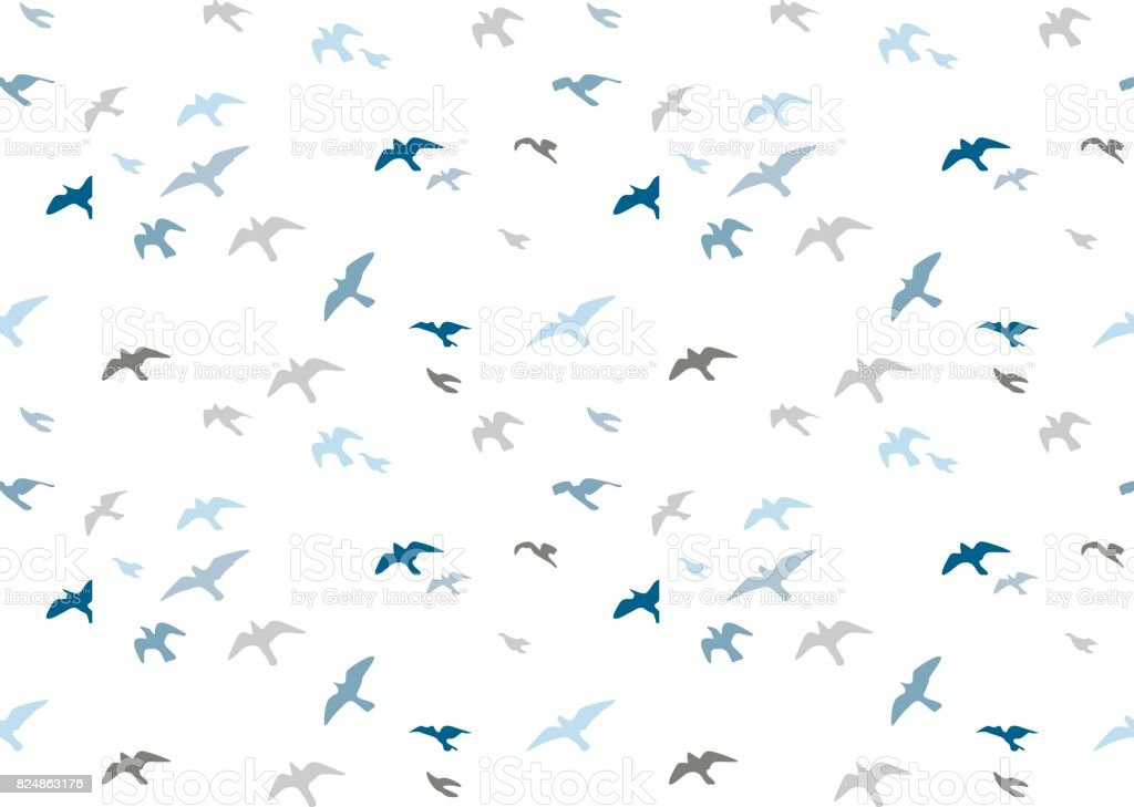 Seagulls silhouettes seamless pattern. Flock of flying birds blue gray semitone silhouette. Sea-gull cute painted bird Vector for wrapping paper cute design fabric textile, isolated white background. vector art illustration