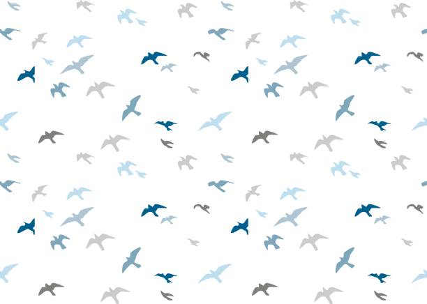 seagulls silhouettes seamless pattern. flock of flying birds blue gray semitone silhouette. sea-gull cute painted bird vector for wrapping paper cute design fabric textile, isolated white background. - birds stock illustrations