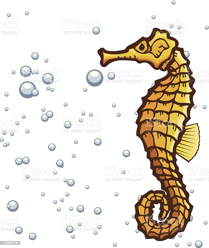 Seahorse in a Background of Bubbles royalty-free stock vector art