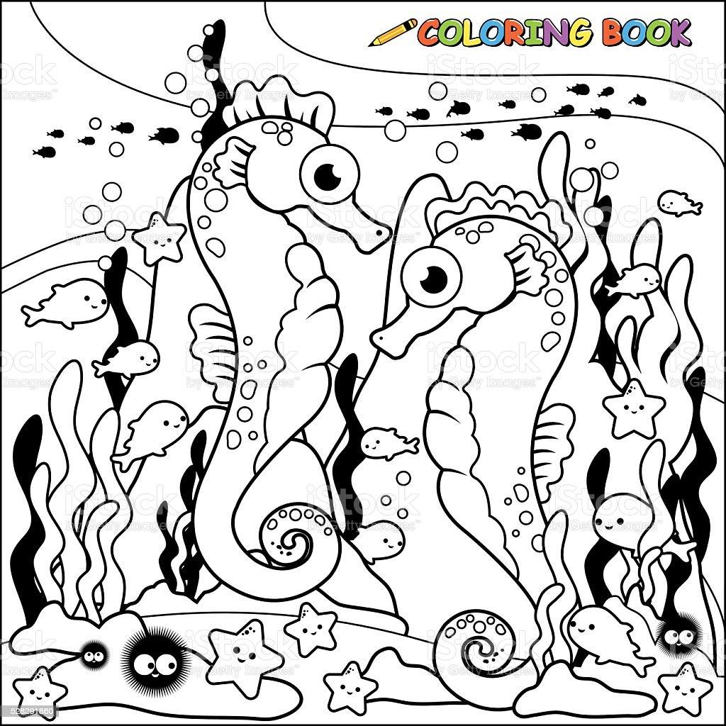 Cavallucci marini nuoto subacqueo libro da colorare pagina for Cavalluccio marino da colorare