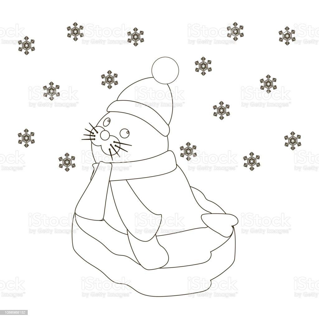 Ilustración De Bebé Sobre Un Témpano De Hielo Para Colorear Página