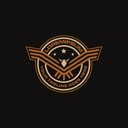 Seal badge emblem Airforce eagle icon vector template on black background