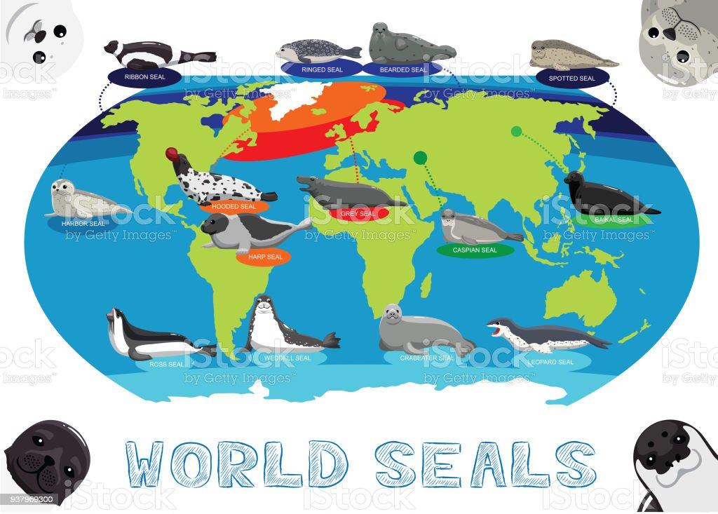 Lake Baikal World Map.Seal Distribution World Map Cartoon Vector Stock Vector Art More