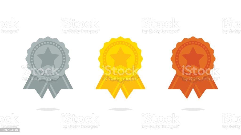 Seal ribbon silver gold and bronze set vector vector art illustration