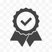 Seal ribbon with check mark vector isolated