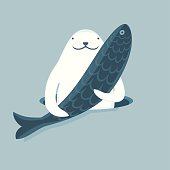Vector illustration of Seal that keeps the fish