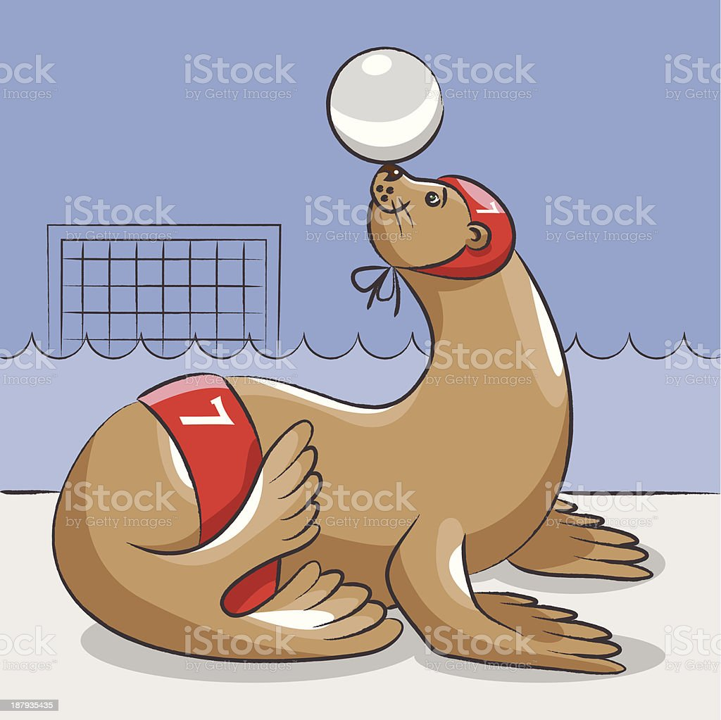 Seal - the water polo  player royalty-free seal the water polo player stock vector art & more images of animal