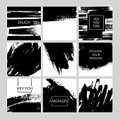 Collection of post template with abstract brush strokes. Set of ink brushes grunge square. Hand drawn vector background collection for your design.