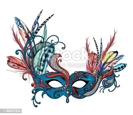 Luxury carnival mask with feathers, full color hand drawn vector illustration.