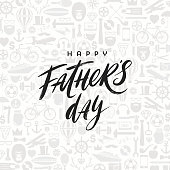 Happy fathers day greeting card with brush calligraphy, Lettering on a pattern background. Vector illustration.