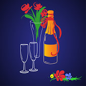 istock A sealed bottle of wine in a festive packaging, two tall glasses and a bouquet of roses in a transparent vase 1310008128
