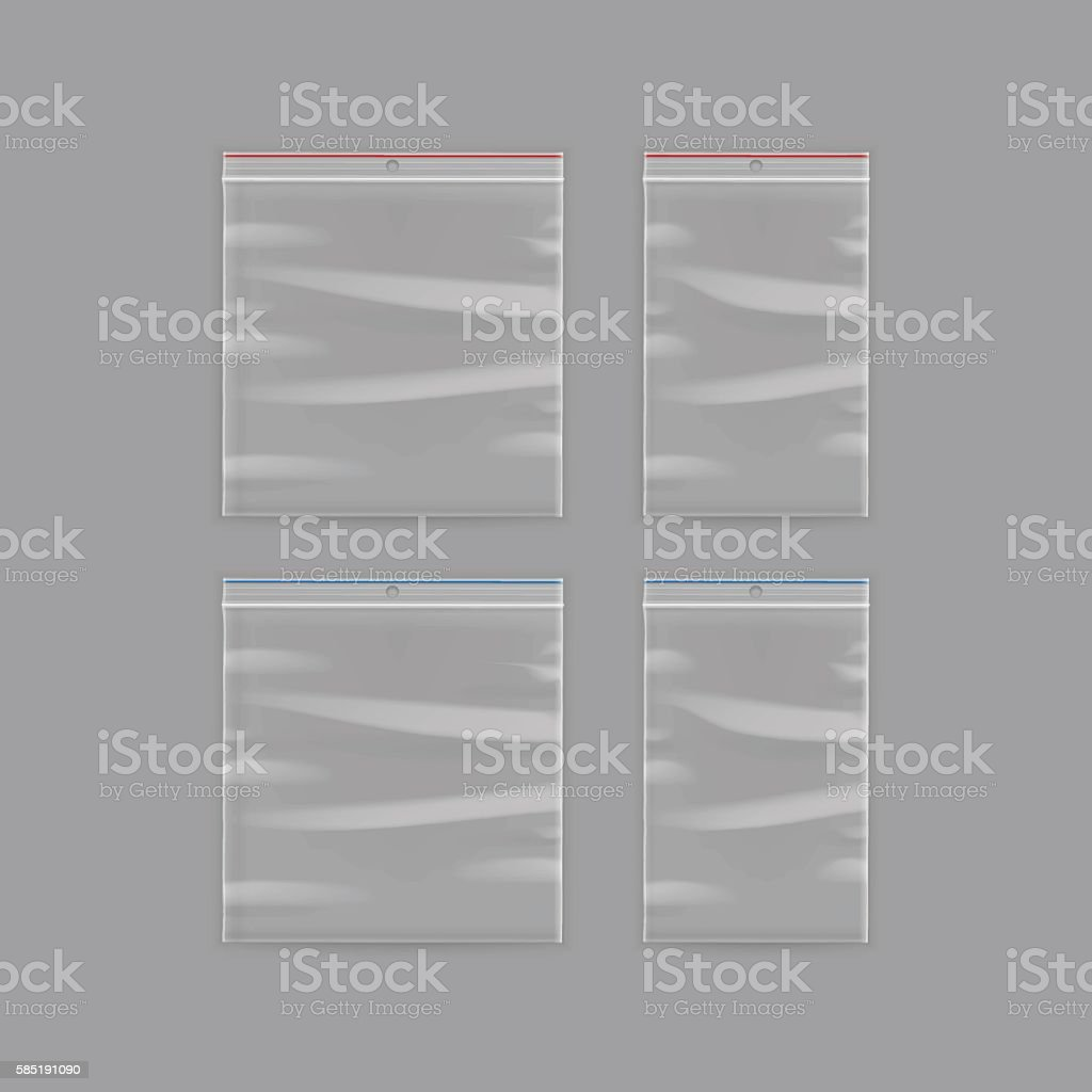 sealed empty transparent plastic zipper bag isolated on background