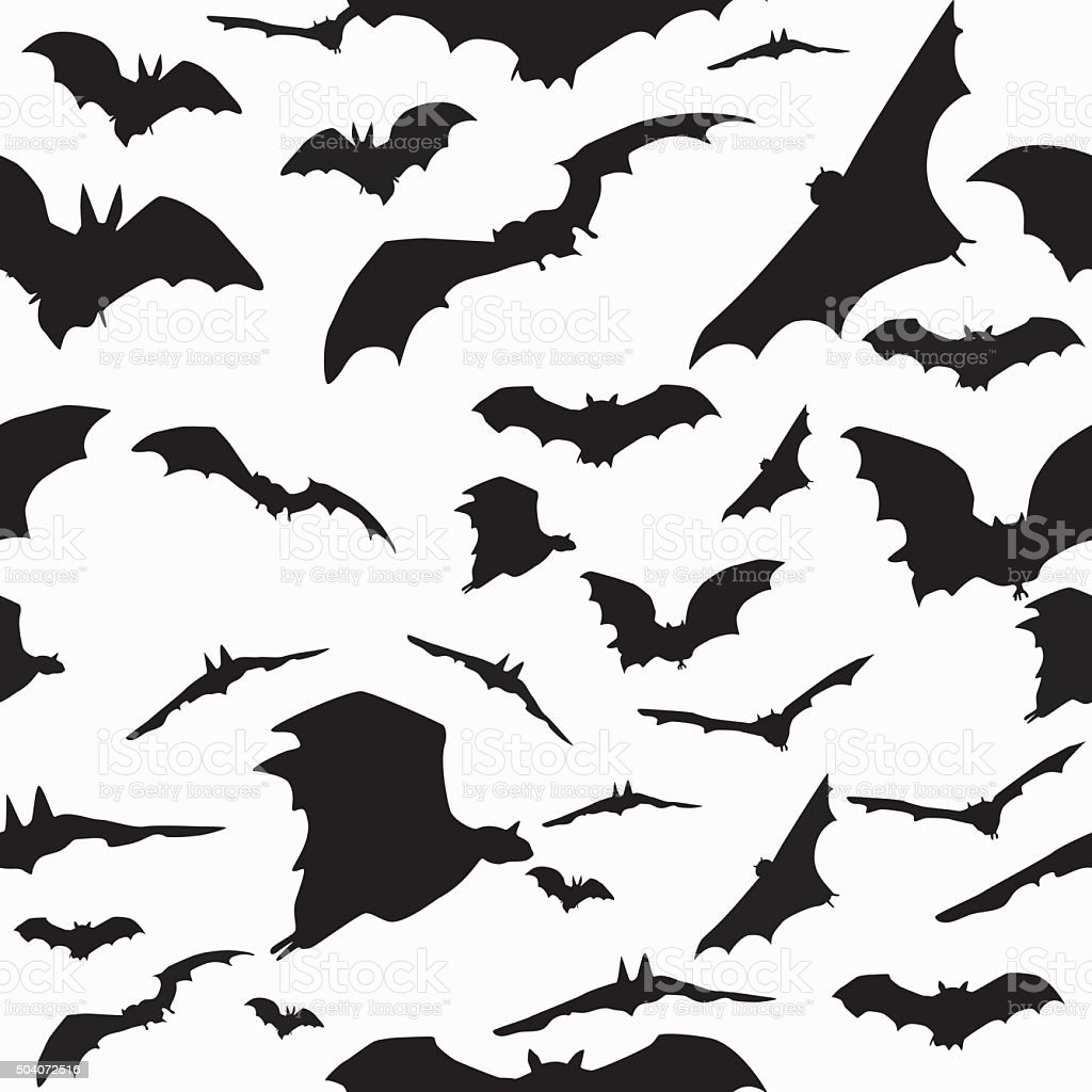 Sealess pattern with bats vector art illustration