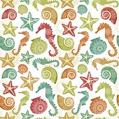 Seahorses, starfishes, conches and shells pattern.