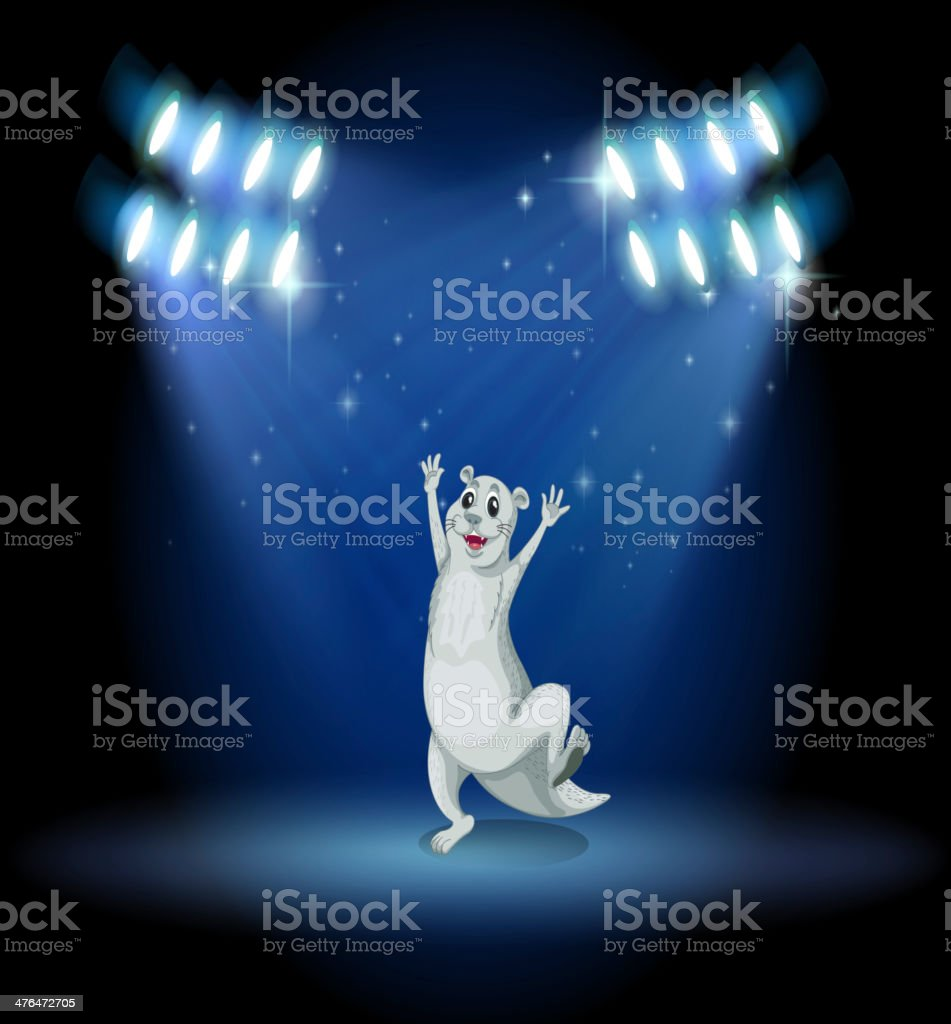sealion at the stage with spotlights royalty-free stock vector art