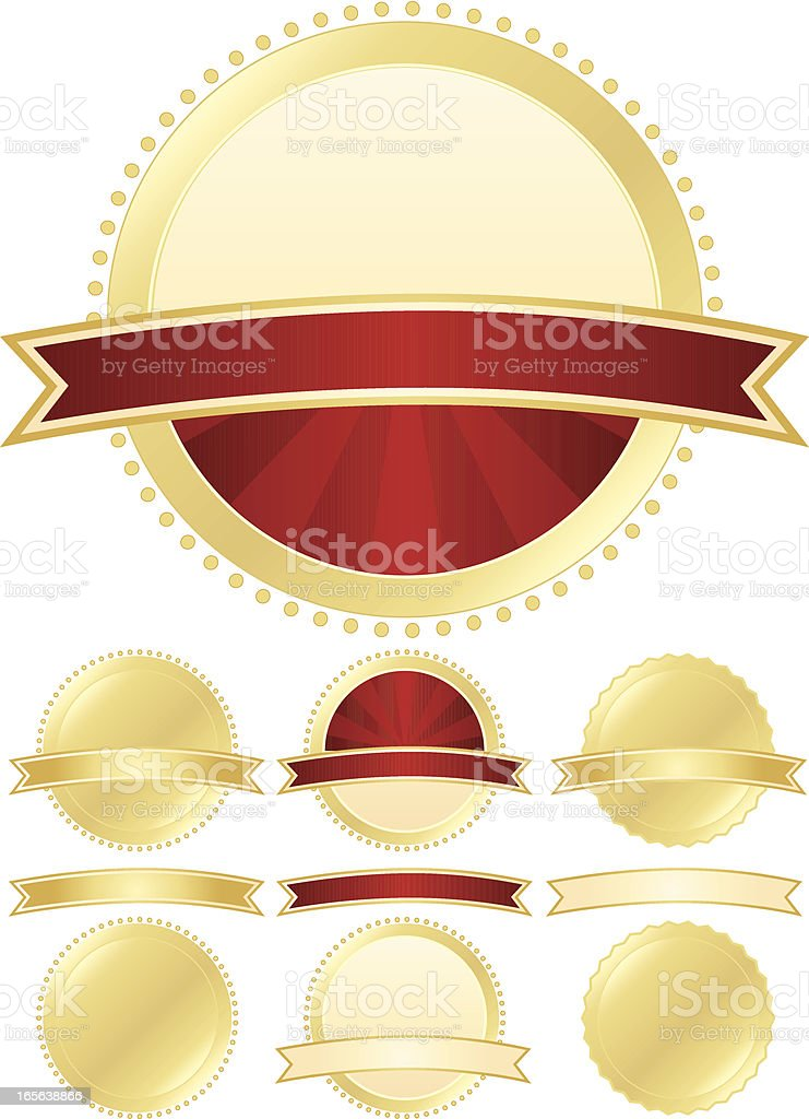 Seals and Ribbons Set - Red, Gold royalty-free stock vector art