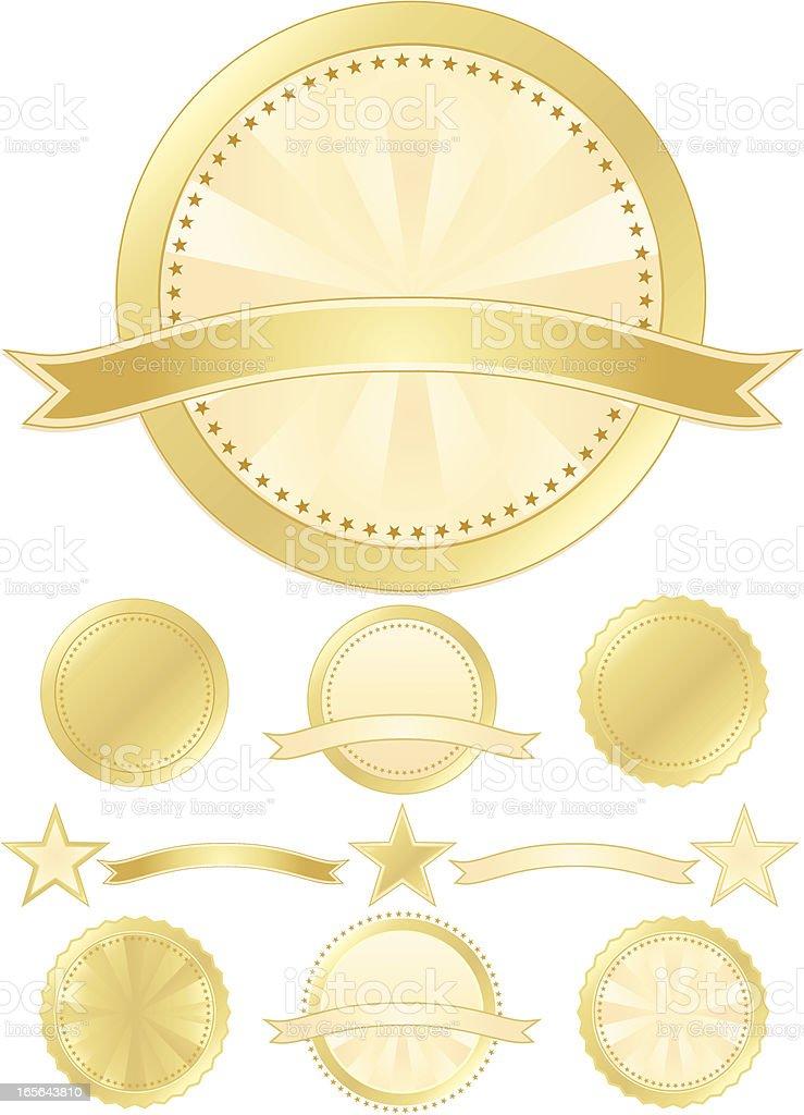 Seals and Stars Set - Gold, Cream royalty-free stock vector art