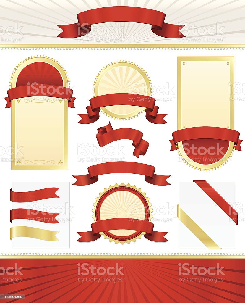 Seals, Plaques, Banners, Ribbons Set in Red, Gold, Cream royalty-free seals plaques banners ribbons set in red gold cream stock vector art & more images of award ribbon