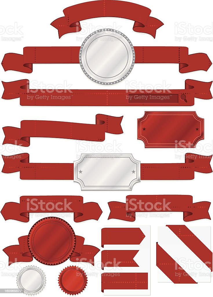 Seals, Plaques, with Diamond Patterned Banners, Ribbons in Red, Silver royalty-free stock vector art