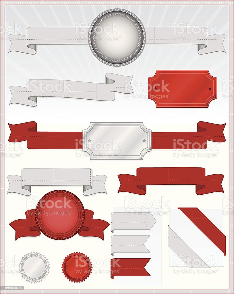 Seals, Plaques, with Diamond Patterned Banners, Ribbons in Silver, Red royalty-free stock vector art