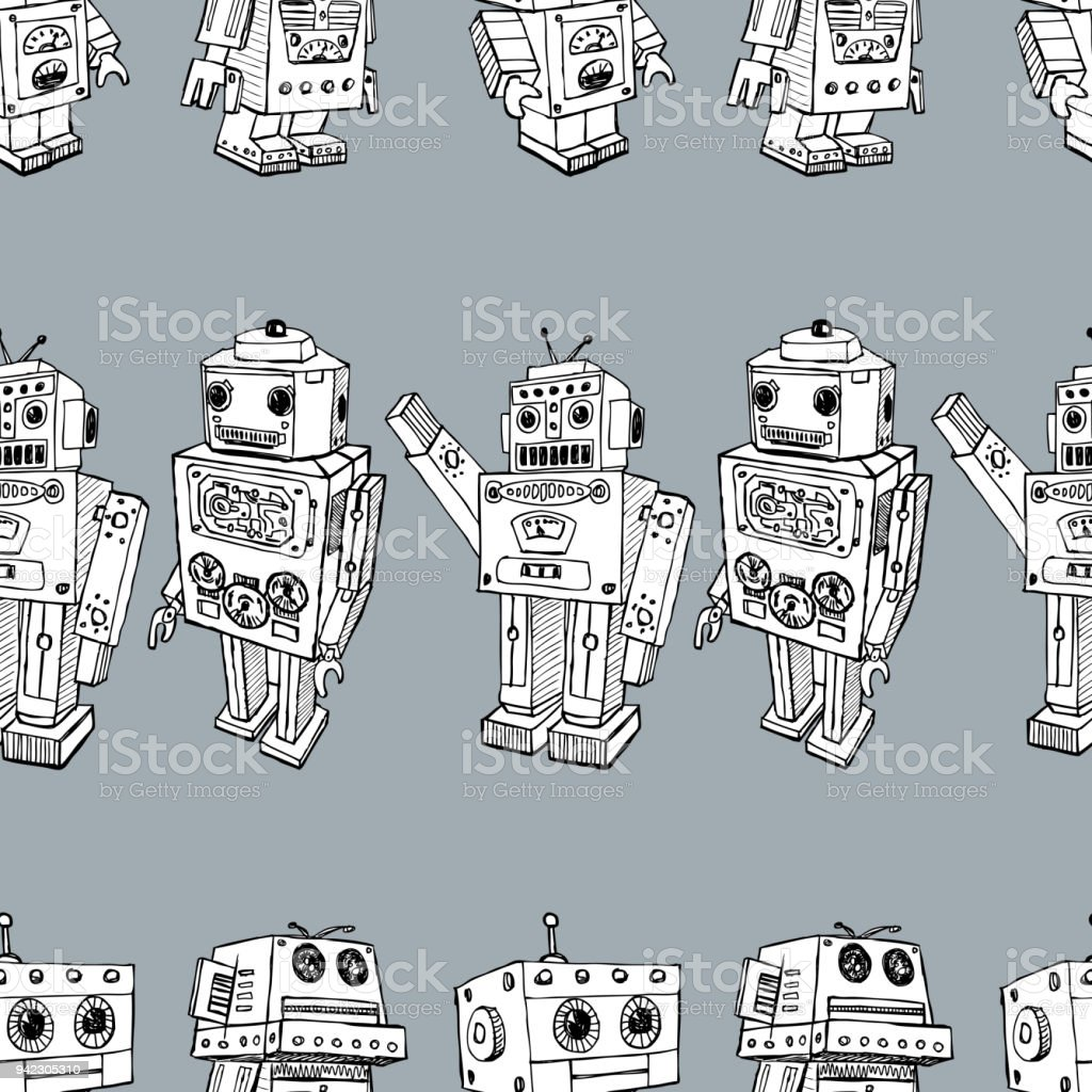 Seamess background of the toy robots vector art illustration