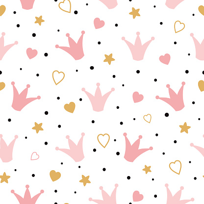 Seamess pattern with doodle pink crowns hearts Vector baby girl wallpaper Little princess design