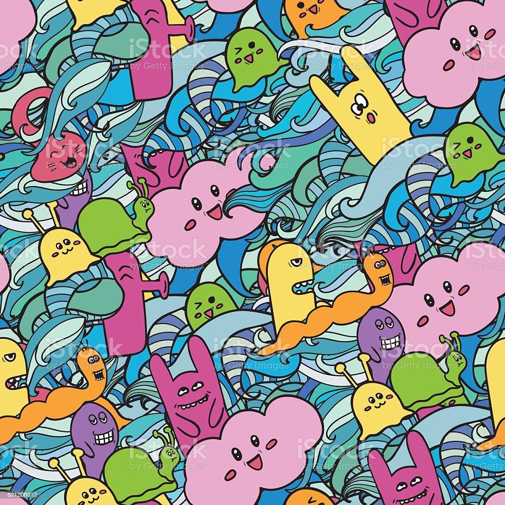 Seamle Muster Lustige Monster Graffiti Stock Vektor Art Und Mehr