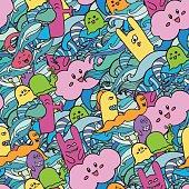 Seamle pattern Funny monsters graffiti