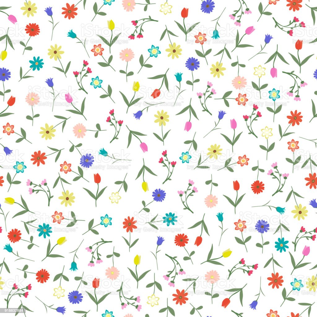 Seamles hand drawn floral pattern isolated on white background vector illustration. Many random flowers, many colors. Early spring or summer flowers set.