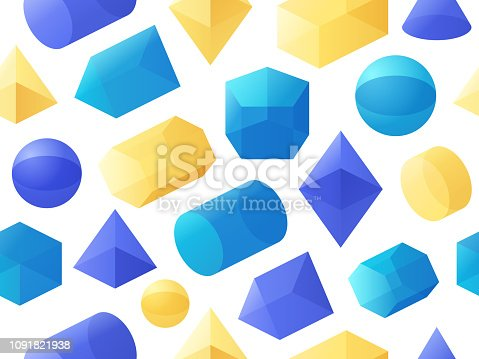 3D geometric shapes seamless background abstract pattern.