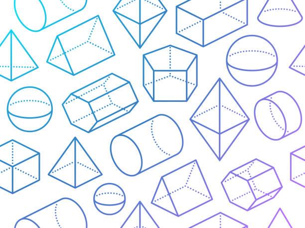 ilustrações de stock, clip art, desenhos animados e ícones de seamless 3d geometric shapes - cilindro formas geométricas