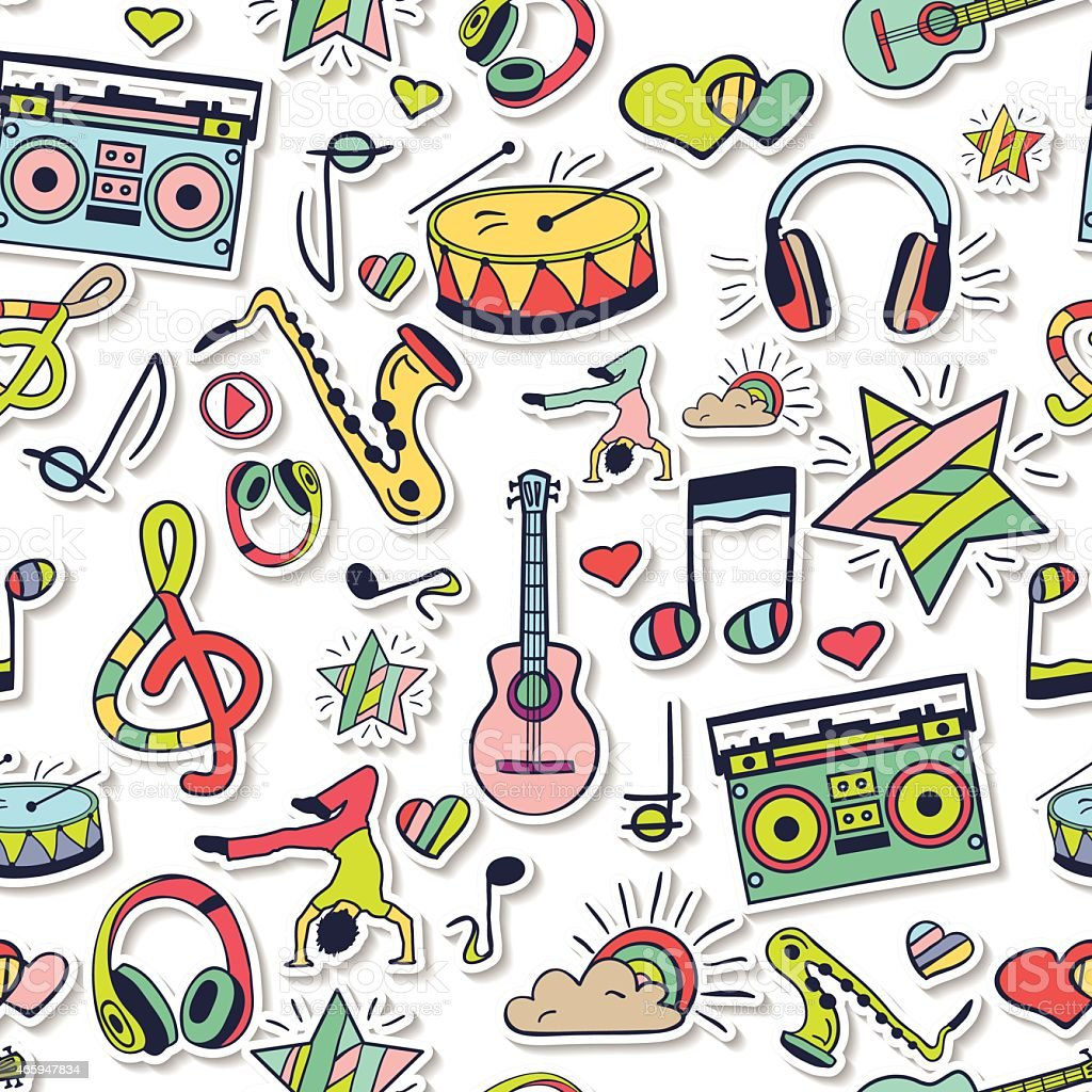 Seamless 3d musical pattern, cute background.