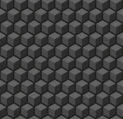 Seamless 3d vector geometric cube pattern