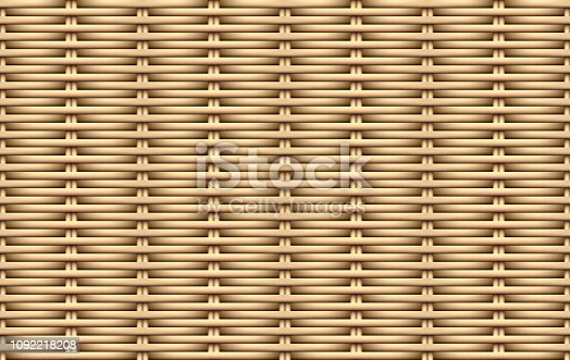 Seamless 3D weave rattan pattern, vector art design
