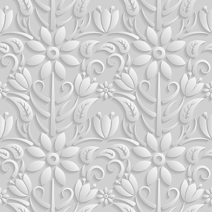 Seamless 3D white pattern, natural  floral pattern, vector. Endless texture can be used for wallpaper, pattern fills, web page  background,  surface textures.