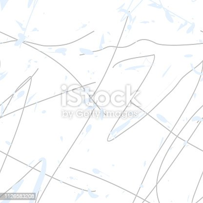 istock Seamless abstract background pattern - lines and blots - blue wallpaper - vector Illustration 1126583208
