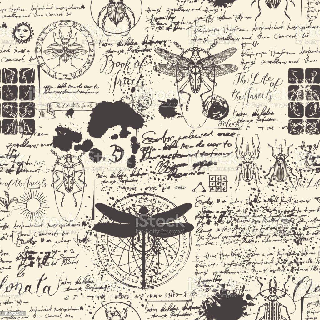 sem costura abstrato com insetos - ilustração de arte em vetor