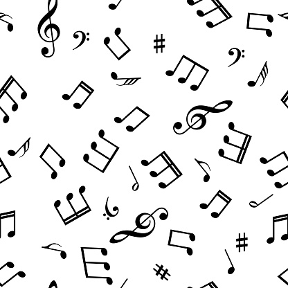 Seamless abstract background with music symbols. Vector illustration
