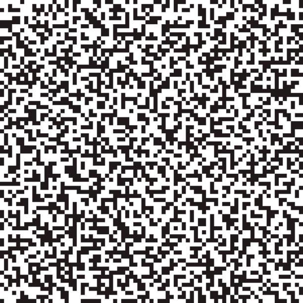 Nahtloser abstrakte schwarz-weiß monochromen Hintergrund. Digital Pixel Rauschmuster – Vektorgrafik