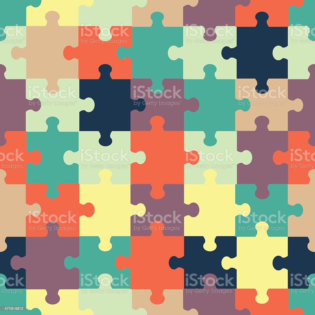 Seamless Abstract Colorful Background Made Of Jigsaw Puzzle Royalty Free