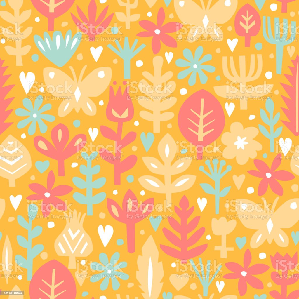 Seamless Abstract Floral Background Botanical Vector Pattern Paper